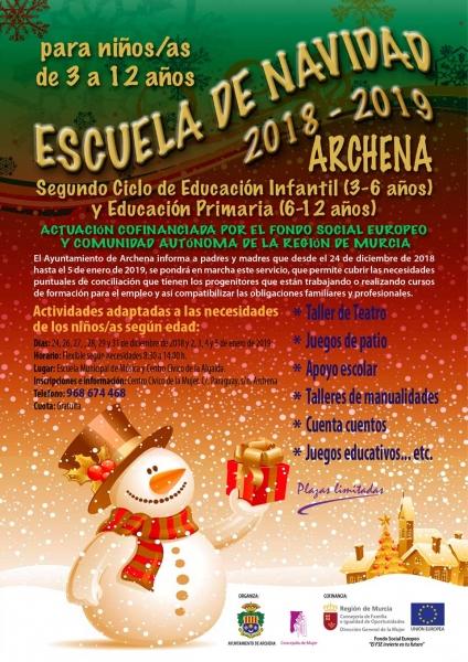 Ayuntamiento De Archena Escuela De Navidad 2018 2019 Archena Para