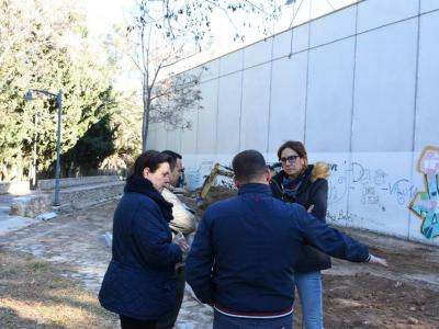 Visita de la Alcaldesa a las obras de asfaltado y pavimentación de La Algaida y a las del nuevo parque de ocio para perros