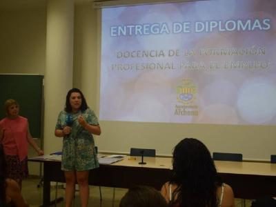 Entrega de diplomas del Cursode Docencia de la FormaciónProfesionalpara el Empleo