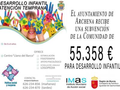 El Ayuntamiento de Archena recibe una subvención de la Comunidad para desarrollo infantil