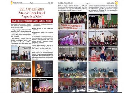 El Grupo Folclórico Virgen de la Salud, en su XXX aniversario, protagonista de la revista especializada 'Raíces y Tradiciones'