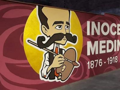 Los usuarios de Atención a la Diversidad del Centro de DíaLlano del Barco finalizan el mural dedicado a Inocencio Medina Vera