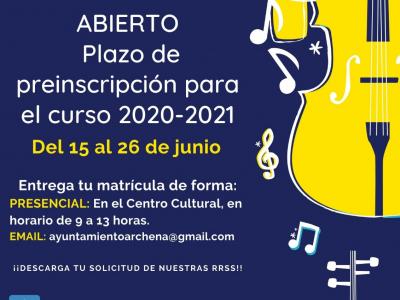 Abierto el plazo de preinscripción de la Escuela Municipal de Música de Archena