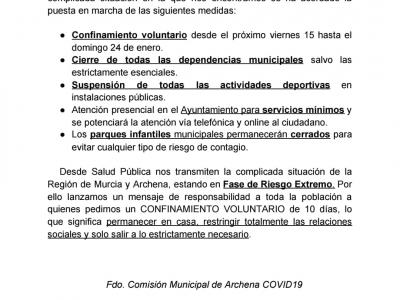 Últimas medidas establecidas por la Comisión Municipal COVID19 de Archena que entraron en vigor el viernes